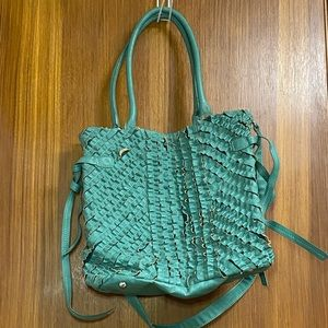 Blue ruffled shoulder bag